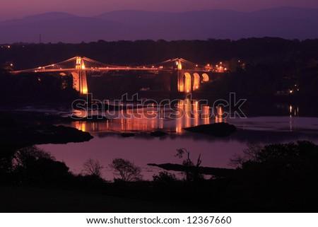 Menai Bridge built by Thomas Telford in 1824 - stock photo