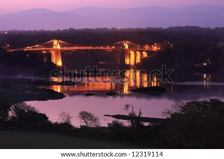 Menai Bridge bulit by Thomas Telford in 1824 - stock photo