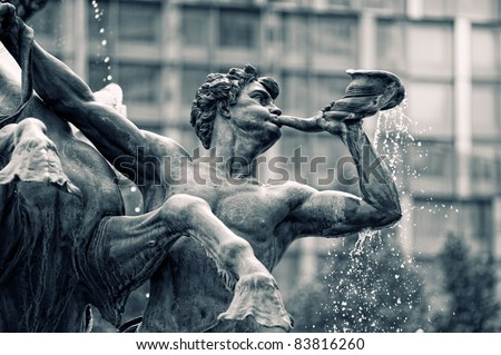 Mendebrunnen. Fountain in Leipzig,Germany - stock photo