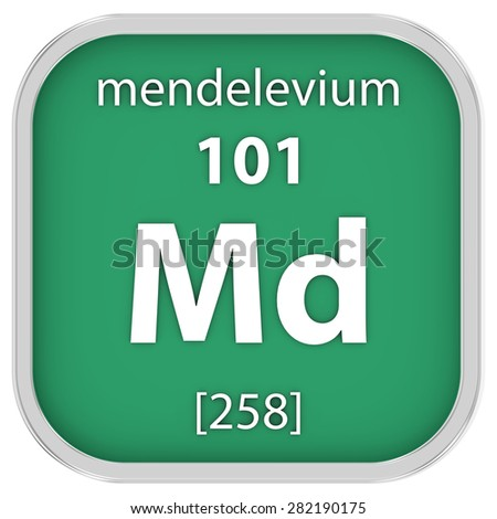 Mendelevium material on the periodic table. Part of a series. - stock photo
