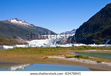 Mendenhall Glacier in Juneau Alaska - stock photo