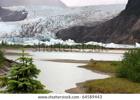 Mendenhall Glacier National Park in Juneau Alaska - stock photo