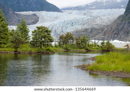 Mendenhall Glacier near Juneau, Alaska - stock photo