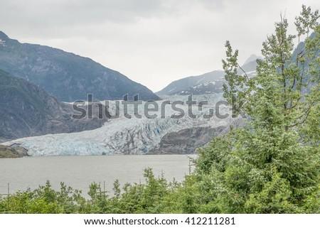 Mendenhall Glacier near Juneau, Alaska - stock photo