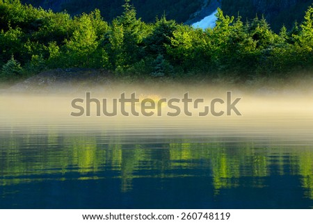 Mendenhall Lake Reflections, Early Morning Juneau Alaska - stock photo