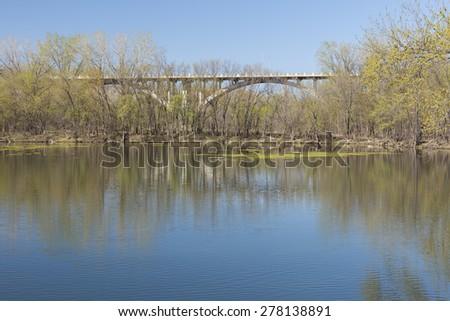 Mendota Bridge In Spring - stock photo