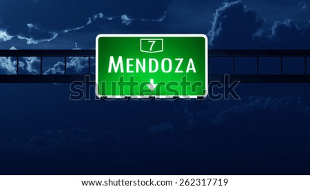 Mendoza Argentina Highway Road Sign at Night - stock photo