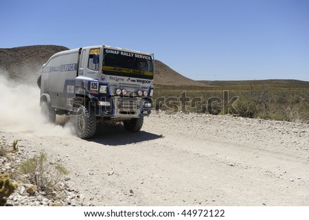MENDOZA, ARGENTINA - JANUARY 15: A Truck in the Rally DAKAR Argentina - Chile 2010. January 15, 2010 in Mendoza, Argentina