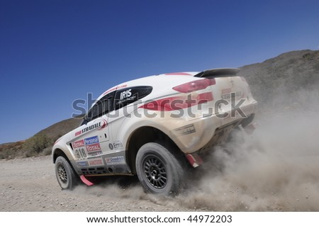MENDOZA, ARGENTINA - JANUARY 15: A 4x4 Vehicle in the Rally DAKAR Argentina - Chile 2010. January 15, 2010 in Mendoza, Argentina - stock photo