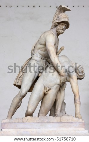 Menelaus holding the body of Patroclus - stock photo