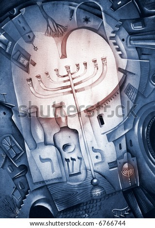 Menorah Candles. Illustration by Eugene Ivanov. - stock photo