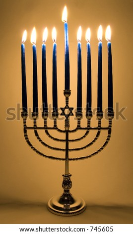 Menorah with all 9 candles lit - stock photo