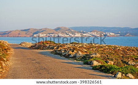 Menorca, Balearic Islands, Spain: the road to Cap de Cavalleria at sunset on July 8, 2013. Cap de Cavalleria is located in the northwest of the island