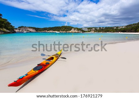 Menorca Cala Galdana Beach in Ciutadella at Balearic islands - stock photo