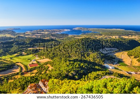 Menorca island at sunset landscape, Spain. - stock photo