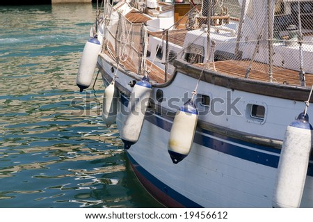 Menorca, Spain, port of Ciutadella with closeup boat