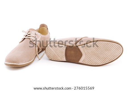 Mens beige elegant leather shoes,  isolated on white background. - stock photo