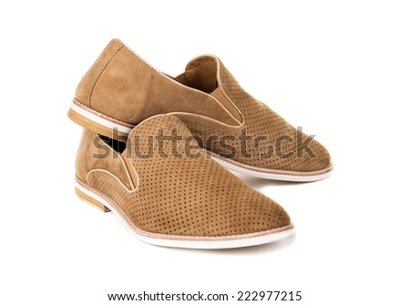 Mens beige, elegant shoes, nubuck on a white background - stock photo