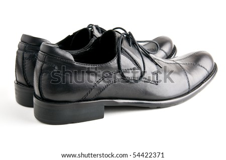 mens  black leather shoes closeup