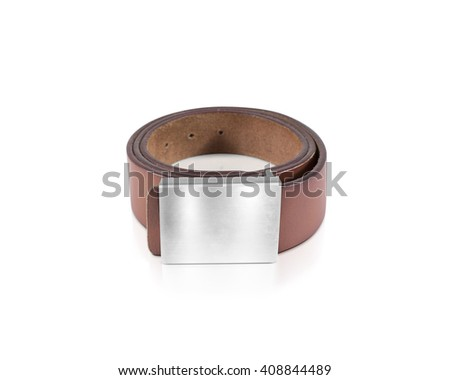 Mens brown belt with blank badge mockup isolated. Clear waistband mock up with grey band. White metallic ensign template on jeans belt. Leather clothing belt design branding. Pants belt empty shield. - stock photo