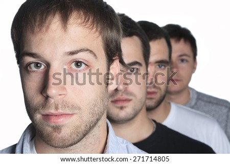 Mens friends in a row - stock photo