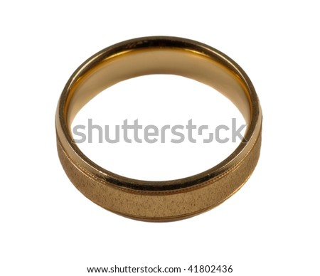 Mens gold wedding ring isolated - stock photo