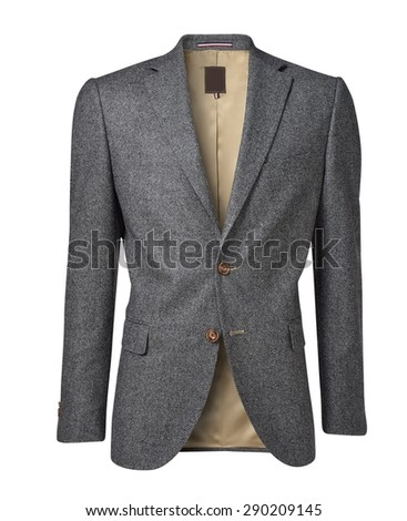 mens jacket isolated on white. with an alpha channel - stock photo