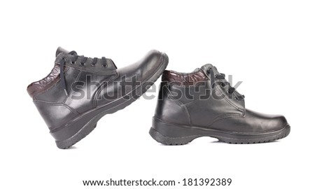 Mens sport leather shoes. Isolated on a white background. - stock photo