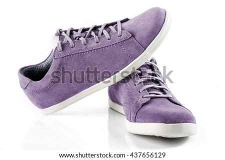 Mens suede shoes of violet colour isolated on white background - stock photo