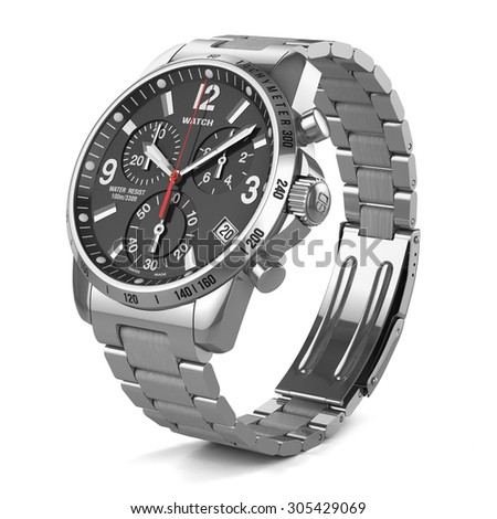Mens swiss mechanical wrist watch with stainless steel wristband and black dial, tachymeter, chronograph. Isolated on white background 3d - stock photo
