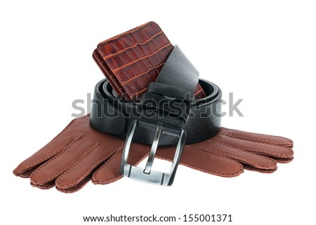 Mens wallet, belt and gloves isolated on white background - stock photo