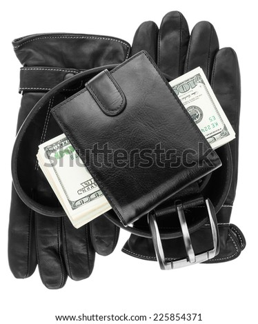 Mens wallet,money, belt and gloves, isolated on white background - stock photo