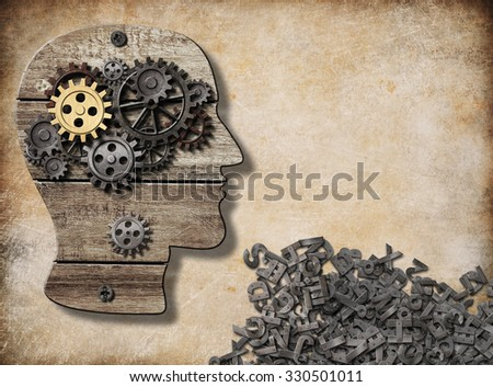 mental and verbal activity, brain model concept - stock photo