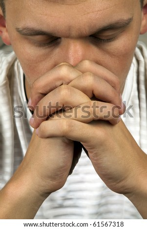 Mental breakdown concept depressed man covering his face - stock photo