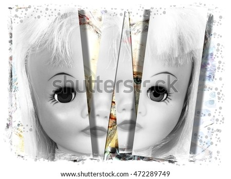 Mental Health Illustration of a Fractured Doll Face