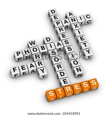 mental health (orange-white crossword puzzles series) - stock photo