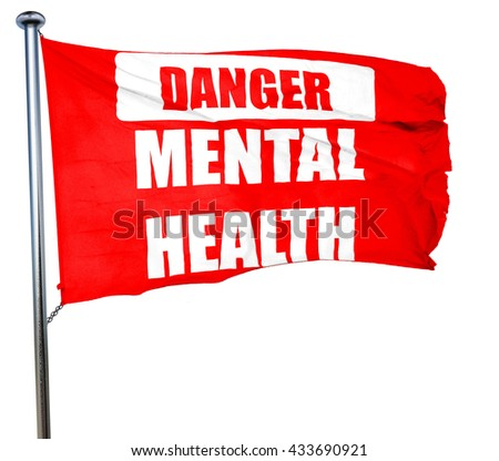 Mental health  sign, 3D rendering, a red waving flag - stock photo