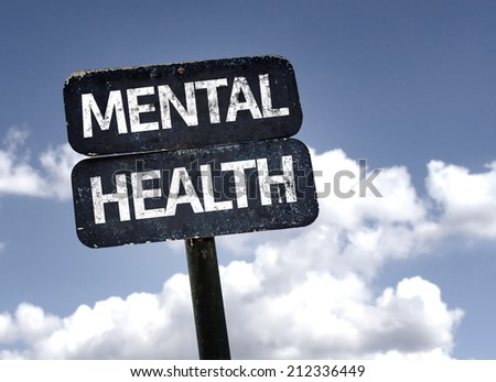 Mental Health sign with clouds and sky background  - stock photo