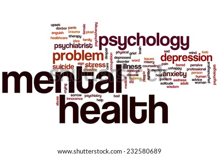 Mental health word cloud concept - stock photo