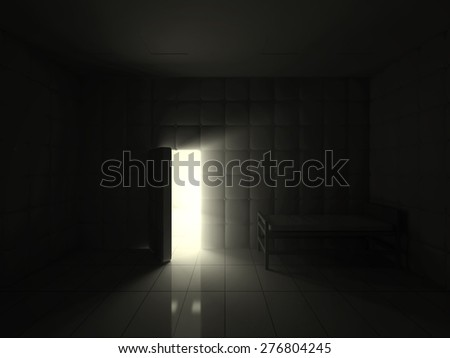 Mental Hospital Room Interior with Opened Door at Night. 3D Rendering - stock photo