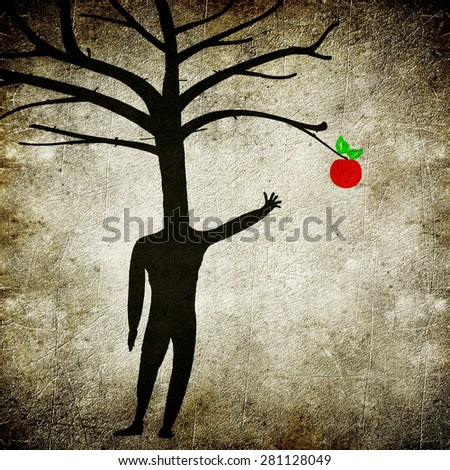 mental illness concept digital illustration with man tree and apple - stock photo