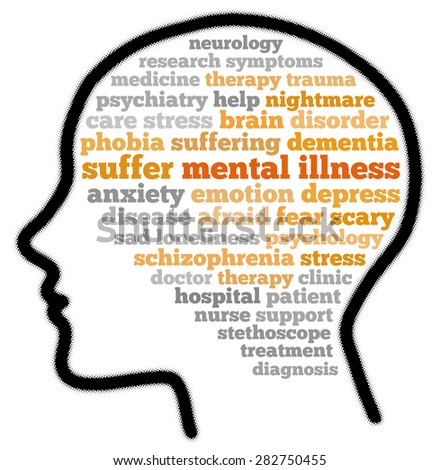 Mental illness in word cloud concept - stock photo
