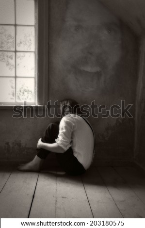 Mental patient with anxiety in the 19th century - stock photo