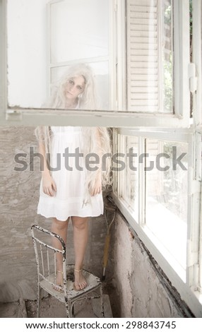 Mental woman in hospital - stock photo