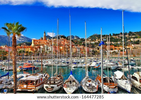 Menton - colorful port town, border France- Italy - stock photo