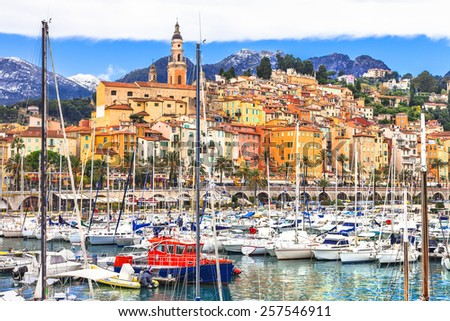 Menton - colorful pretty town in south of France - stock photo