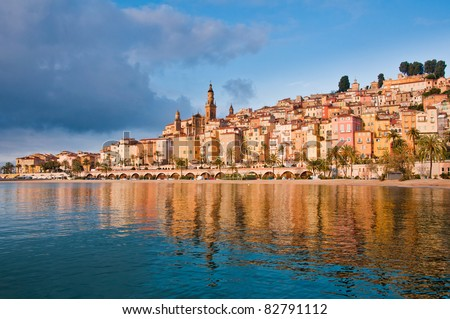 Menton Provence village water reflection - stock photo