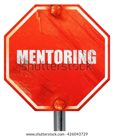 mentoring, 3D rendering, a red stop sign - stock photo