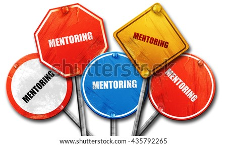 mentoring, 3D rendering, rough street sign collection - stock photo
