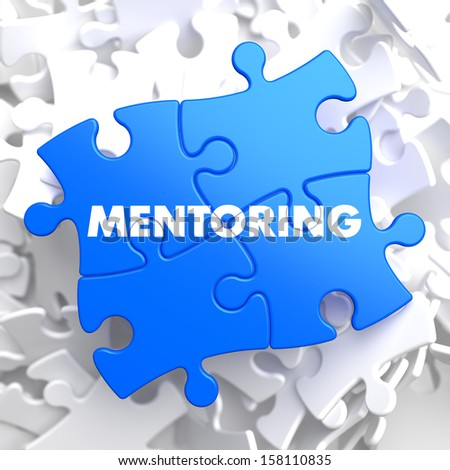 Mentoring Writing on Blue Puzzle Pieces. Business Educational Concept. - stock photo